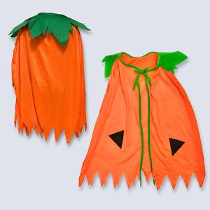 Kids Pumpkin Cape Halloween Costume Witch Girls Orange Fancy Dress Cloak Witch