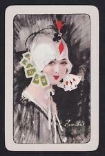 1 Single VINTAGE Swap/Playing Card UNNAMED CARD EARRINGS LADY Artist Barribal