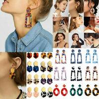 Fashion Boho Statement Acrylic Hollow Geometric Big Circle Dangle Earrings Women