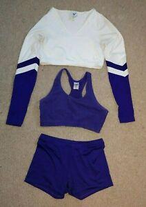Authentic Varsity Cheer Cheerleading Body Suit Spankies Sports Bra Purple White