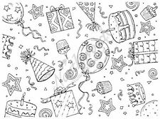 Rubber Stamp Balloons Hats Presents Party Background Block Northwoods R2532
