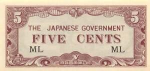 JIM 1942 WWII block ML UNC 5 Cents Malaya Japanese Invasion Money
