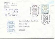 ESTONIA 10 EEK HFV DEFINITIVE COAT OF ARMS 1993 FDC REGISTERED COVER ABROAD