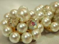 Showy Vintage 1950's  Lucite And Crystal Cluster Flower Clip On Earrings  924jl9