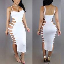 Women Sleeveless Bandage Cut Out Bodycon Side Split Party Dress Clubwear Wetlook