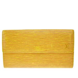 Auth LOUIS VUITTON Credit Long Bifold Wallet Epi Leather Yellow M63579 08MI243