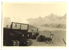 Véhicule auto neige chenilles montagne - photo ancienne amateur an. 1940 50