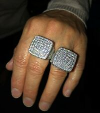 Men's Iced Big Statement Ring Solid 925 Sterling Silver Pinky Ring Hip Hop