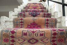 "FREE SHIPPING Vintage Handmade Turkish  Oushak Runner Rug 13'11""x2'6"""