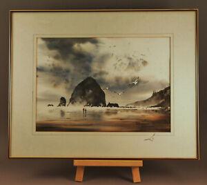 "RICHARD HAZELTON CANON BEACH BEACH ORIGINAL WATERCOLOR PAINTING 22"" X 28"" Framed"
