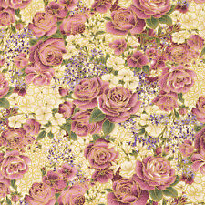 Japanese Cotton Fabric FQ Purple Violet Rose Flower Retro Gold Print Dress J159
