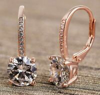 Women Leverback Earring 18K Rose Gold Filled Drop Earring with Swarovski Crystal