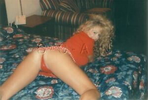 Semi Nude Color Real Photo- Blond- Legs- Up Skirt- Butt- Red Panties- On Bed