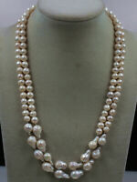 New 2 Strands White reborn keshi freshwater pearl Pearl Necklace 19""