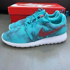 New Nike Roshe Run Print Size 10 Hyper Jade Cedar Space Blue Crimson 655206-346