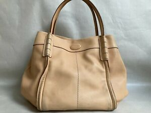 Tods Hobo Large Leather Hand Bag Top Handle Smooth Leather Made In Italy
