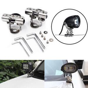 2 Pcs SUV Car Stainless Steel Clamp LED Work Light Bars DRL Mount Bracket Holder