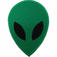 Green Alien Embroidered Iron On Patch Sew On Badge UFO Space Martian Head NASA