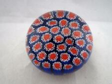 "Vintage Murano Small Art Glass Millefiori Blue Red Canes Paperweight 2"" Tall"
