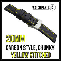 • 20mm Black Carbon Fibre, Yellow Stitched Chunky Leather Watch Strap + Buckle •