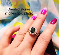 2ct-LOOK oval emerald 2 tone claster ring uk size P us 8