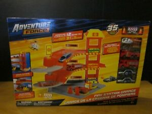 Adventure Force Fire Station Garage PlaySet-35 Pieces-Includes 5 Vehicles-NEW