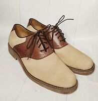 Hush Puppies Mens1958 Beige&Brown Suede&Leather 5eye Lace up Dress Shoe Sz 10-US