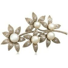 Sterling Silver White Freshwater Cultured Pearl Cubic Zirconia Brooch Pin