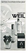 PUBLICITE  1969  WEIL  parfums  ANTILOPE ZIBELINE GENTILHOMME