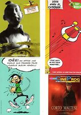 TINTIN/GASTON/ASTERIX/CORTO MALTESE LOT DE 4 DOCUMENTS TRES RARES TBE