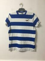 Hollister White Blue T-Shirt Size Large Mens Short Sleeve (F981)