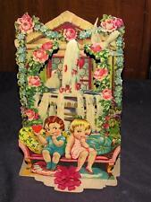 """Lg 8 1/2"""" Vtg 1920'S Die Cut Embossed Pop Up 4 Fold Downs Valentine, Kewpies"""
