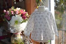 blouse bonpoint 12 mois blanc petites fleurs col pierrot ravissant etat parfait