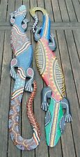 2 Gecko Wall Hanging Wooden Ornaments wood carvings Hand carved & painted 100cm