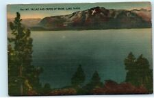 *Mount Mt Tallac Cross of Snow Lake Tahoe California CA Vintage Postcard C22