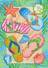"Tropical Flip Flops Summer Garden Flag Sand Beach Nautical 12.5"" x 18"""