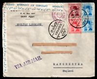 Egypt 1940 Airmail Censored cover Cairo to Manchester WS9547