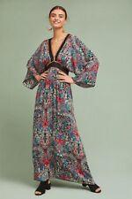 NWT Anthropologie Floral Kimono Boho Maxi Dress By Raga Size Small $228