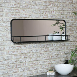 Large Black Industrial Mirror with Shelf shelving retro bathroom modern vintage