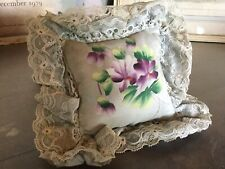 Antique Vintage Pin Cushion Pillow with Lace & Hand Painted Purple Flowers
