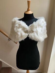 Faux Fur Ivory Stole STONE WING CLASP Bolero Shawl Wrap Cape Wedding UK 10-12