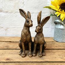 Vintage Bronze Effect Resin 2 Hare Rabbits Couple Statue Sculpture Ornament Gift