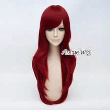 Anime 70CM for Steins Gate Makise Kurisu Wine Red Wavy Halloween Cosplay Wig+Cap
