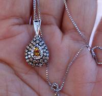 ".80ct Chocolate or Brown Le Vian diamond pendant Citrine 14k WG 21"" Chain"
