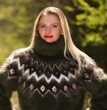 Green hand knitted mohair sweater Icelandic Fuzzy Turtleneck Pullover SUPERTANYA