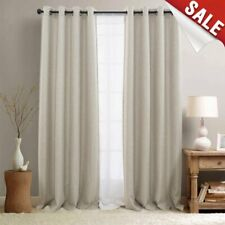 Indoor 100% Linen Solid Window Curtain Drapes Blackout Room Thermal Insulated