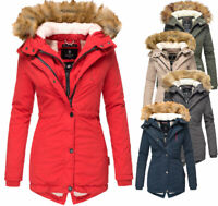 Marikoo Damen Winter Jacke Mantel winterparka Akira ANORAK warm Teddyfell Kapuze