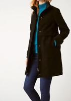 WHITE STUFF Black Soft Moleskin WYE Funnel Neck Trench Coat Jacket 6 to 18 New