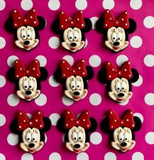 MINNIE MOUSE CUP CAKE TOPPERS  X 6 - PINK OR RED BOW - *APPROX 4.8CM WIDE