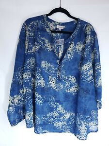 Avenue Womens Plus Size 26/28 Blue Yellow Paisley Sheer Top Long Sleeve Blouse